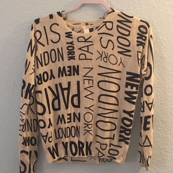 New York and Paris patterned sweater